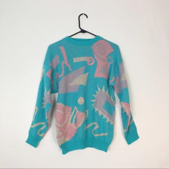 Vintage Pastel Pink Blue Graphic Sweater S